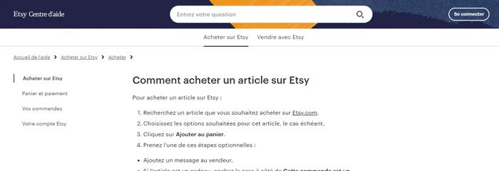 La page d'aide que Etsy met à disposition des acheteurs pour les guider sur leur achat... Elle est beaucoup plus simple que celle qui existe pour expliquer comment vendre sur Etsy